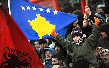 Kosovo Albanians celebrating Kosovo's Independence Day