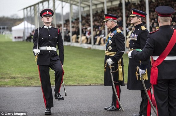 Prince Charles presented officer cadet Ismail Hoxha from Kosovo the overseas sword for best overseas cadet at Sandhurst