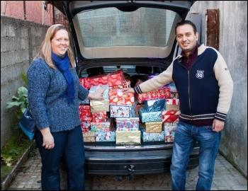 Pastor Steve Ayers and his daughter Becky were part of a team that flew to Albania over the past week to distribute the gifts in and around the capital, Tirana.