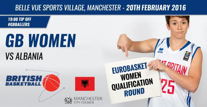 GB Women vs Albania, basketball, Manchester sports venue 'Belle View' on the 20th February 2016.