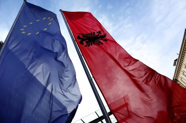 EU and Albania flags