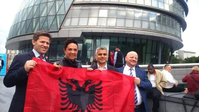 From right to left: Lavdrim Krashi (the coordinator for Sadiq Khan's campaign with the Albanian Community), Ivana Bartoletti (Labour GLA candidate for Havering and Redbridge), London Mayor Sadiq Khan and Agim Neziri (a distinguished member of the Albanian Community in London)