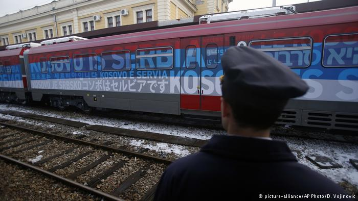 A Serb nationalist Russian donated train, halted at the border by Kosovo special police