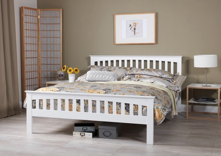 Serene Amelia 4ft Small Double White Wooden Bed Frame By