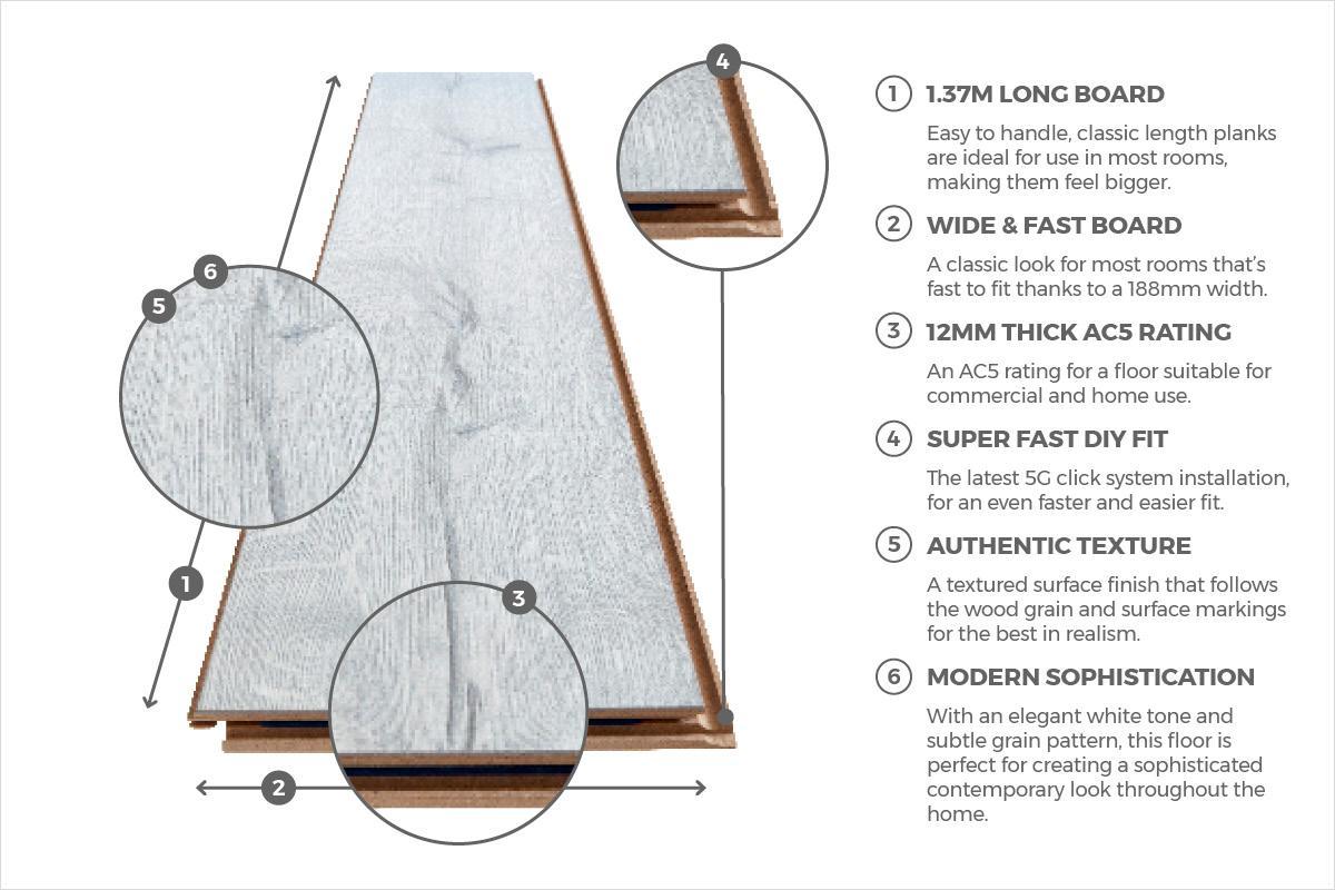 Series Woods Professional 12mm Laminate Flooring White Oak