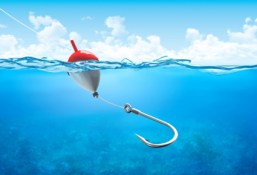 float and hook in water