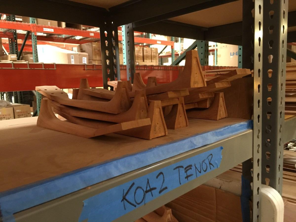 Koa tenor necks awaiting bodies and finishing.