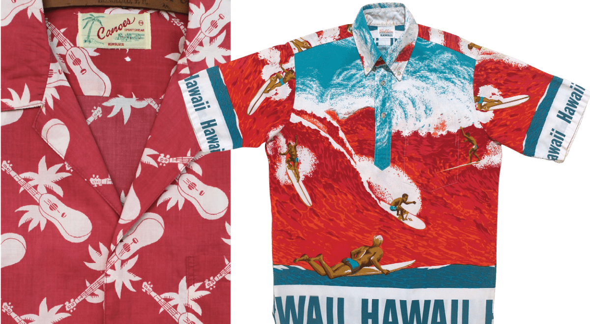 "Left, Ukuleles abound on this faded-look shirt from Canoes Sportswear. Right, Inspired by big wave surfers, Dave Rochlen designed ""Big Surf"" for the Surf Line brand in 1966."