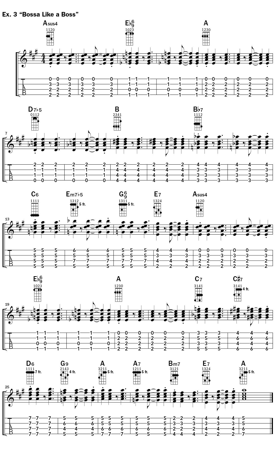 Ukulele Bossa Nova Lesson Example 3