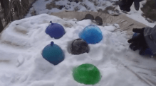 colorful ice globes