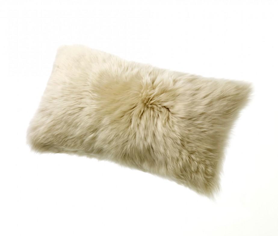 Sheepskin Pillows 11 x 22 Fur Cushions Tan Linen