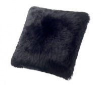 Sheepskin Pillows Large 24 Fur Cushions Black