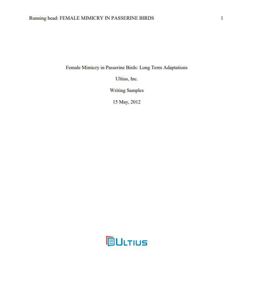 APA Style Paper - Buy APA Paper Online Ultius