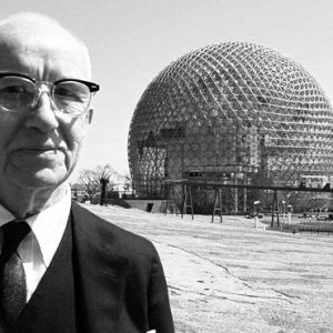 Buckminster Fuller With Geodesic Dome