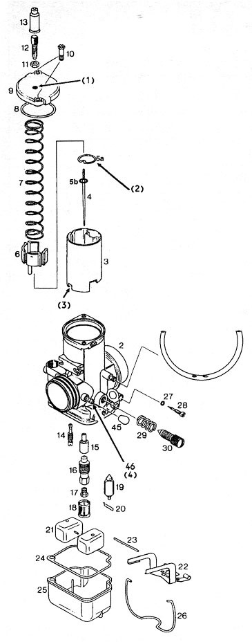 Bing 54 carburetor parts used on the Rotax 377, 447, 503, 532, 582