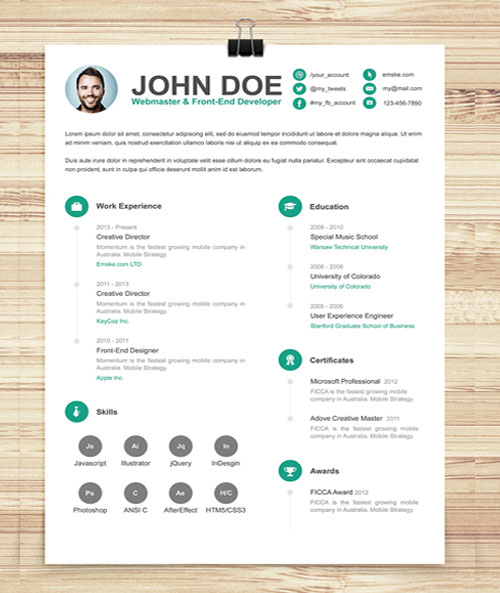 cv iconic indesign template