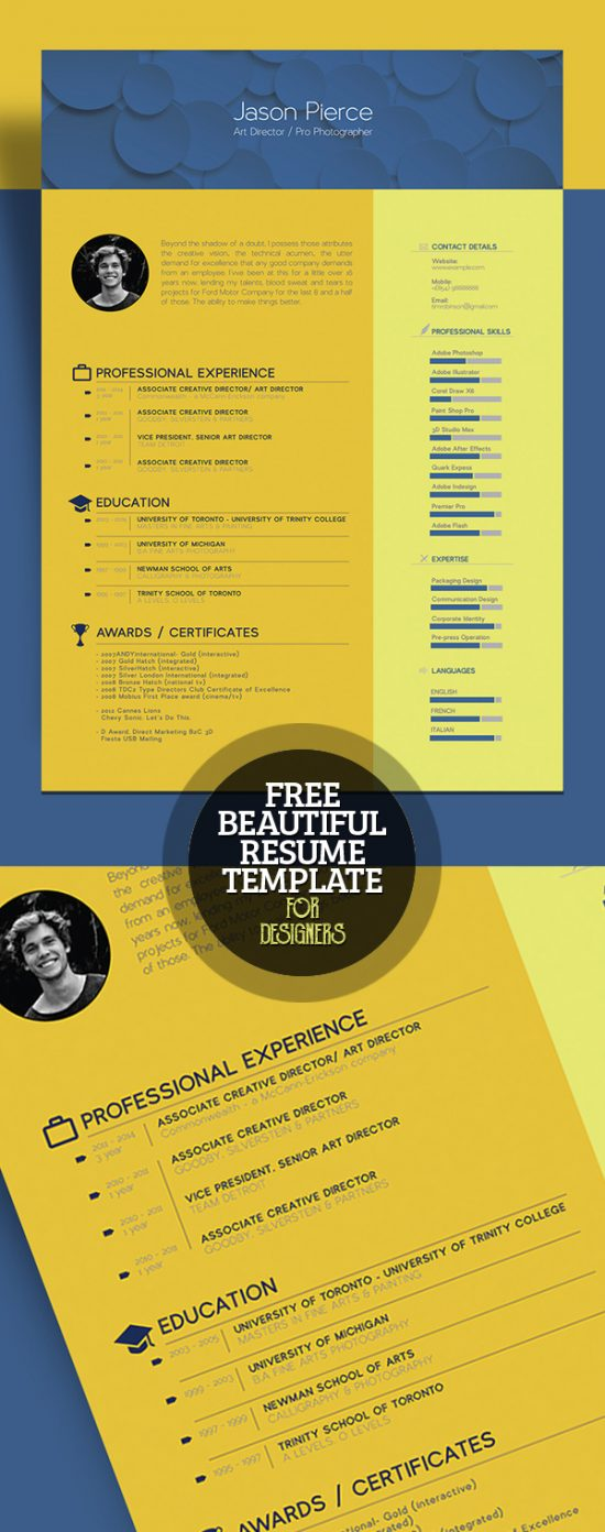 28+ Best Resume For Graphic Designers (PSD  Ideas With Examples) - graphic designer resume template