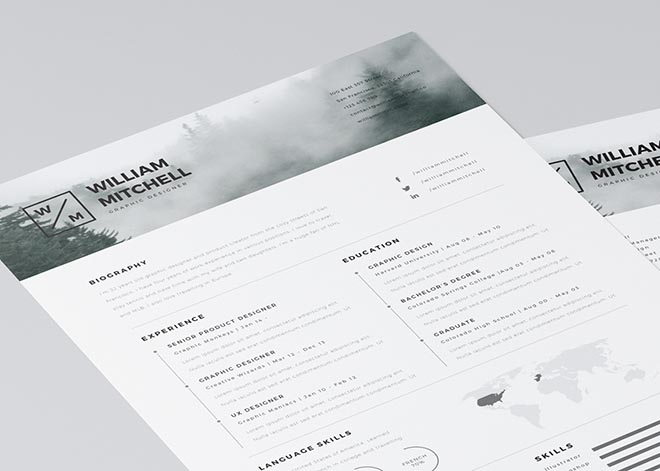 Free Minimalistic Resume Template for Photoshop and Illustrator
