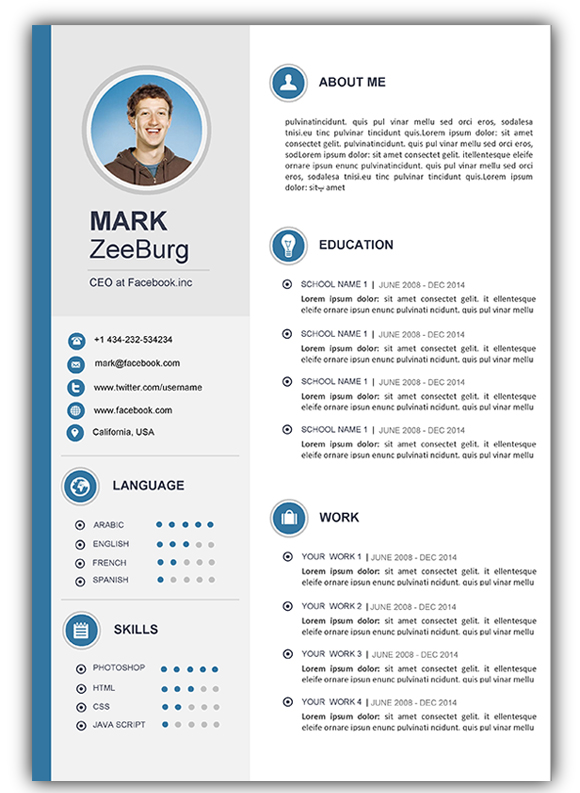 cv template with photo word free download