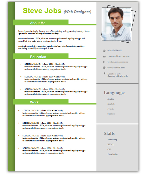 3+ Free Download Resume / Cv Templates For Microsoft Word