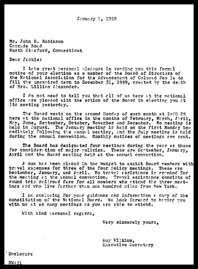 Letter of Acceptance of NAACP Board Membership