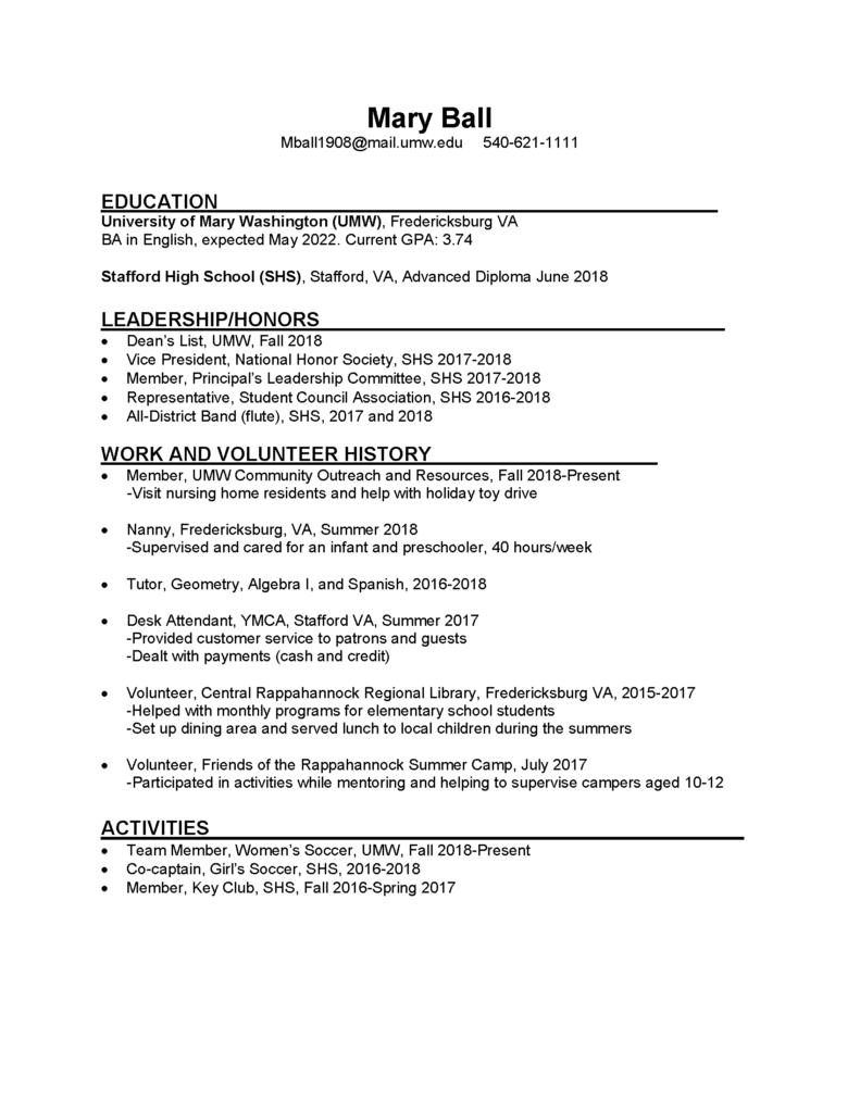 download sample resumes pdf