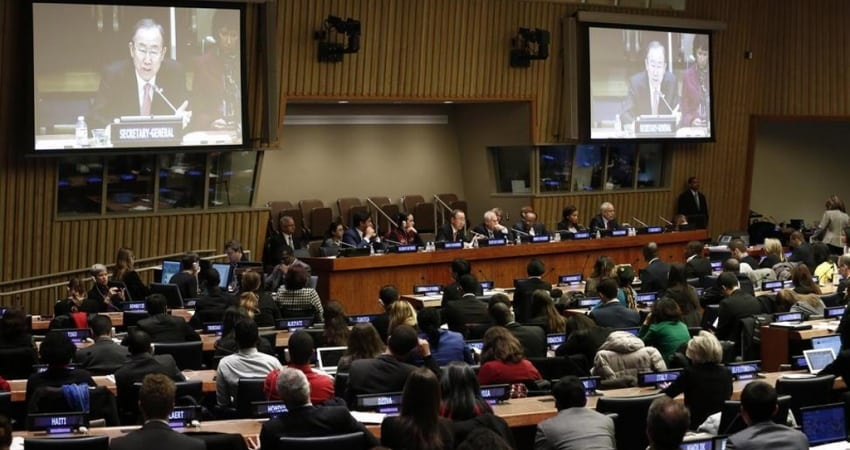 Secretary-General Ban Ki-moon (on screens) addresses Youth Forum at UN Headquarters in New York. UN Photo/Evan Schneider