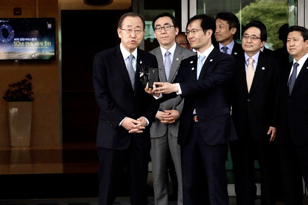 Secretary-General Ban Ki-moon speaks to the press upon arrival in Seoul, Republic of Korea