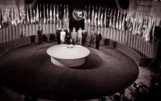 The UN Charter being signed by a delegation at a ceremony held at the Veterans' War Memorial Building on 26 June 1945. UN Photo/Yould