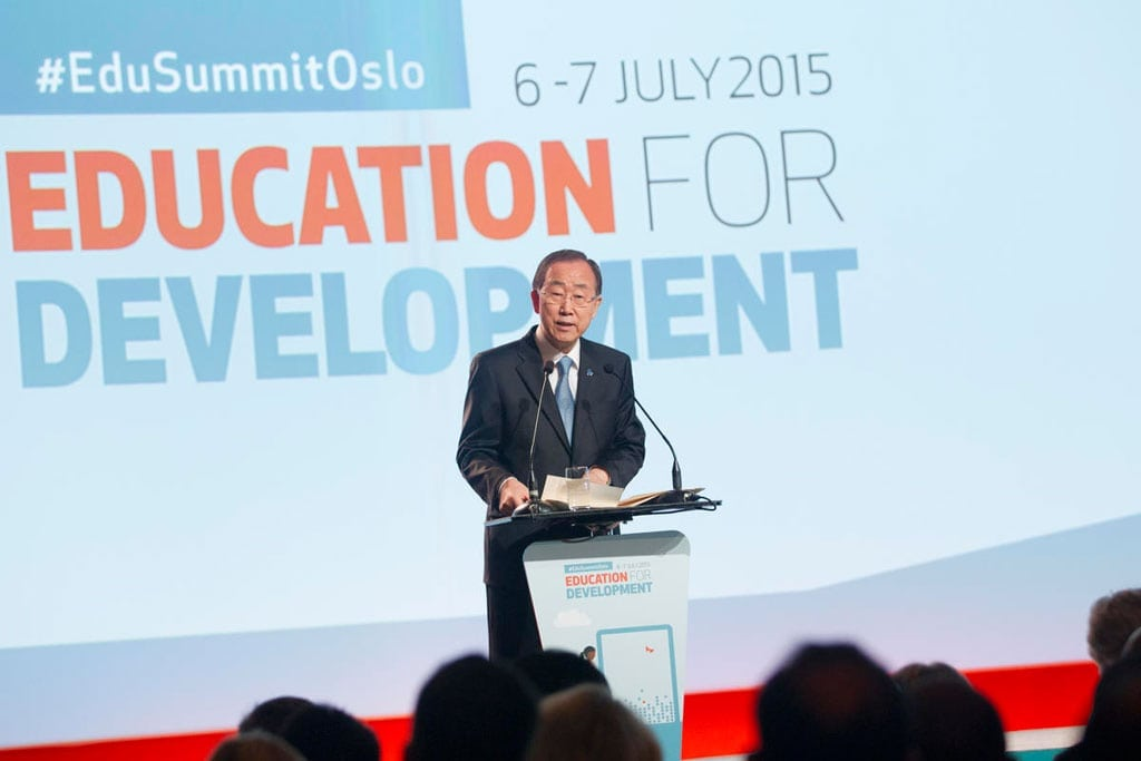 Secretary-General Ban Ki-moon addresses the opening of the Oslo Summit on Education for Development. UN Photo/Rick Bajornas