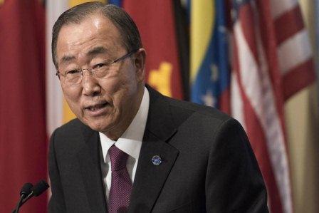 Secretary-General Ban Ki-moon briefs the press at UN Headquarters in New York. UN Photo/Mark Garten