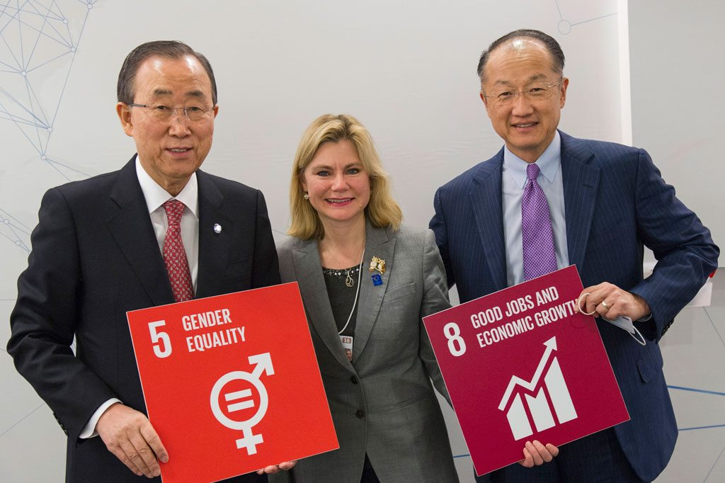 Photo: Secretary-General Ban Ki-moon (left) announces creation of first ever UN High-Level Panel on Women's Economic Empowerment . Also pictured Justine Greening, Development Secretary, United Kingdom (centre) and Jim Yong Kim, President of the World Bank (right).