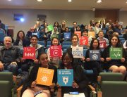 Photo: Students hold up #GlobalGoals icons at the ECOSOC Youth Forum.