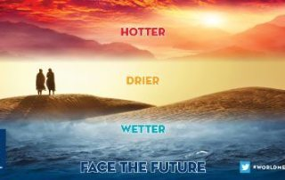 "Graphic: The 2016 theme of World Meteorological Day is ""Hotter, Drier, Wetter."""