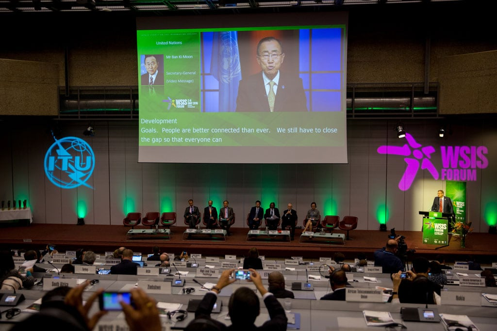Photo: Ban Ki-moon (on screen), delivers video message to the opening of the annual UN World Summit on the Information Society (WSIS) in Geneva.