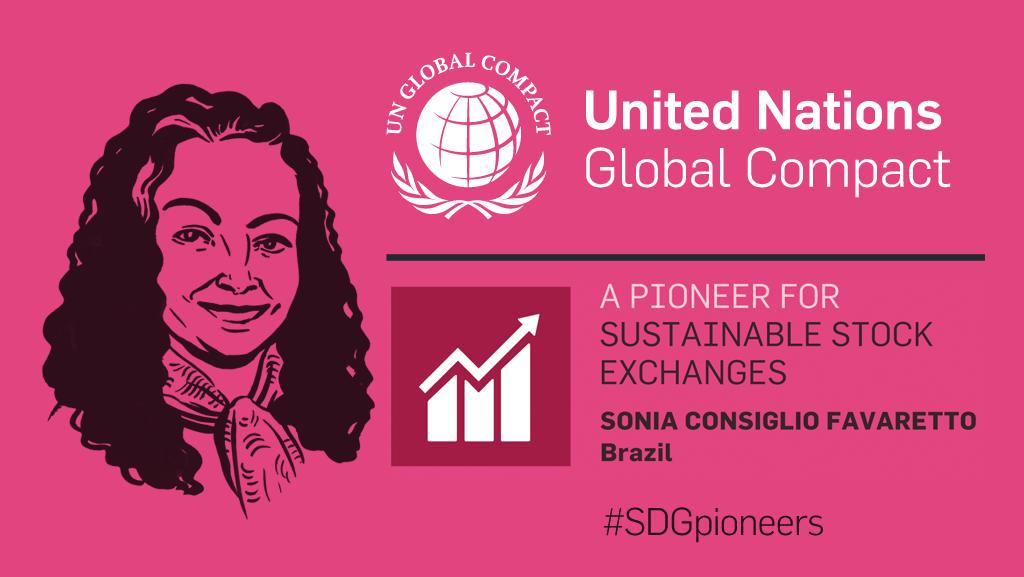 Digital card: Sonia Consiglio Favaretto of Brazil is an SDG Pioneer.