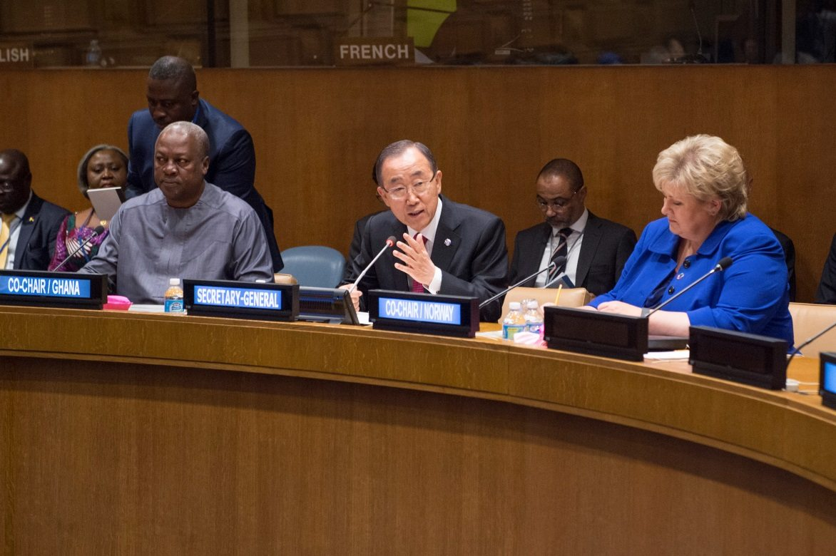 Secretary-General Ban Ki-moon (centre) addresses a meeting of the Sustainable Development Goals Advocacy Group. The Secretary-General is joined by the Co-Chairs of the Advocacy Group: John Dramani (left), President of Ghana; and Erna Solberg, Prime Minister of Norway. UN Photo/Eskinder Debebe