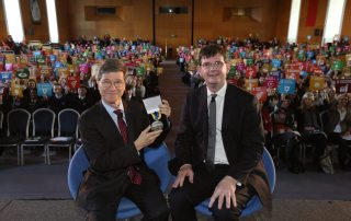 Professor Jeffrey Sachs is presented with the UCD Ulysses Medal by Professor Mark Rogers, UCD Deputy President and Registrar. (photo credit: UCD)
