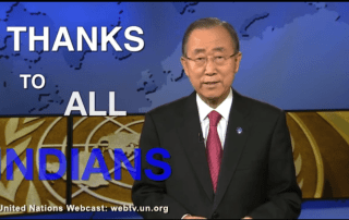 Image: A screenshot of Ban Ki-moon''s video message upon India joining the Paris Agreement.