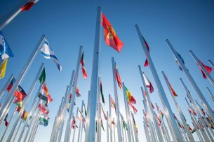 Country Flags outside the UN COP22 venue in Marrakech, Morocco. Photo: UNFCCC