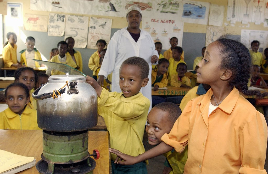 Photo: Children conduct a science experiment in a classroom in Harar, Ethiopia.