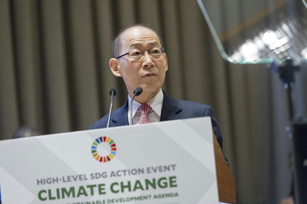 Photo: Chair of the Intergovernmental Panel on Climate Change (IPCC) Hoesung Lee addresses the UN General Assembly.