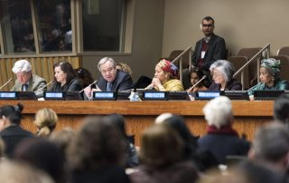 Secretary-General António Guterres holds a town hall meeting with civil society organizations associated with the 61st session of the UN Commission on the Status of Women.UN Photo/Mark Garten