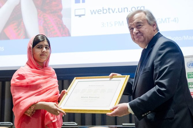 Malala honoured as youngest UN Messenger of Peace