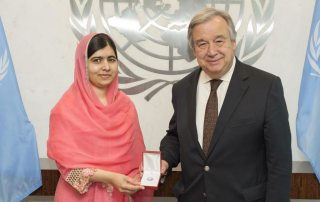 Secretary-General António Guterres designates children's rights activist and Nobel Laureate Malala Yousafzai as a UN Messenger of Peace. UN Photo/Eskinder Debebe