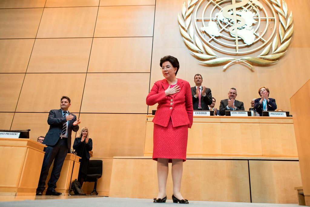 At the 70th World Health Assembly in Geneva, Margaret Chan makes her final appearance as the Director-General of the World Health Organization (WHO). Photo: WHO