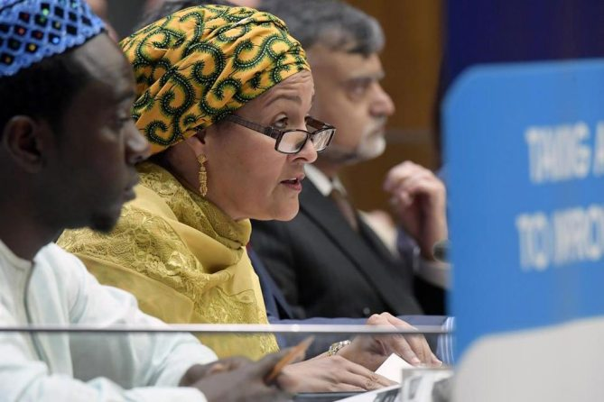 Deputy Secretary-General Amina Mohammed addresses the 2017 Integration Segment of the Economic and Social Council (ECOSOC). UN Photo/Evan Schneider