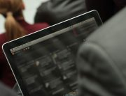 A person browsing through social media on their laptop computer (content blurred to protect privacy). File Photo: World Bank