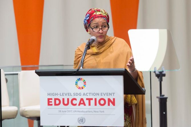 Deputy Secretary-General Amina Mohammed addresses the General Assembly High-level Action Event. UN Photo/Eskinder Debebe