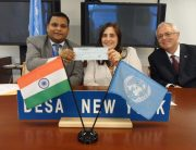 Mr. Ashish Sinha, First Secretary & Second Committee Representative, Permanent Mission of India to UN  Ms. Shari Spiegel, Chief of the Policy Analysis and Development Branch, Financing for Development Office, UN DESA Mr. Michael Lennard, Secretary, UN Tax Committee, Financing for Development Office, UN DESA  (from left to right)